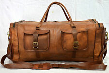 """30"""" Real Brown Leather Duffle Air cabin Luggage Holdall Weekend Travel Kit Bags"""