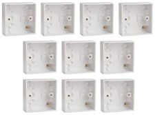 10 x White Plastic Single Surface Mounting Back Box 25mm Deep for Switch/Socket