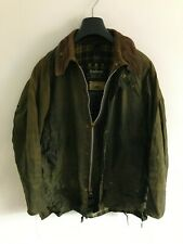 Mens Barbour Beaufort wax jacket Green coat 42in size Large / X-Large overcoat