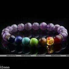 7 Chakra Healing Balance Bracelet Amethyst Bead Yoga Reiki Healing Gemstone