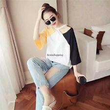 Korean Women 3/4 Sleeve Halter Off Shoulder Color Block Casual Loose T-shirt Top