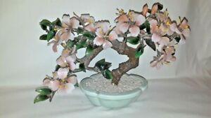 Vintage Glass Bonsai Peach Jade Tree Cherry Blossom Celadon Porcelain China