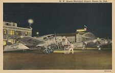 W.W. Howes Municipal Airport in Huron SD Postcard 1948