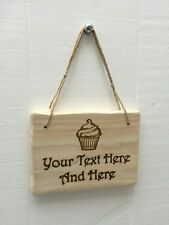 Handmade Farmhouse Country Rustic Wooden Cupcake Baking Kitchen Sign Plaque