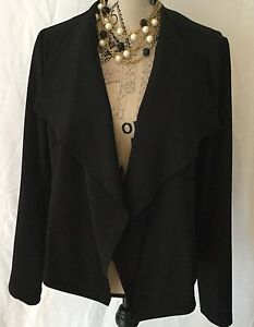 TAHARI Jacket Cascading Front Colar Women's Size M Long Sleeves Black Business