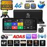 """8"""" Android Car Dash Cam 1080P HD 4G WiFi BT ADAS Dual 2 Lens DVR Camera GPS Navi"""