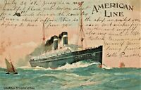 AMERICA LINE U.S.M.S.S. ST. LOUIS SHIP CRUISE LINER LITHO ANTIQUE POSTCARD