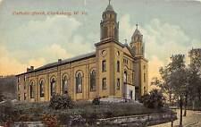 C56/ Clarksburg West Virginia WV Postcard c1910 Catholic Church Building