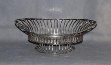 Antique Silver Plate Open Wire Loop Navette Shape Basket on Raised Foot