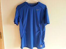 NIKE Pro Combat Fitted Dri Fit royal blue short sleeve shirt - mens medium
