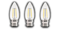 Pack of 3 Warm White Clear Candle LED Light Bulbs (Choice of B22/E14 and 2W/4W)