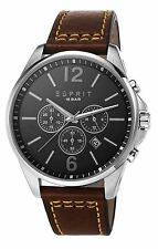 Esprit Men's Watch GENUINE Brown Leather Band RRP £125 - Gift Present UK SELLER