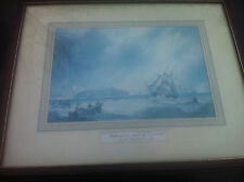 Vintage Print Shipping In A Squall Off Tynemouth: J. W. Carmichael in wood frame
