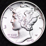 1943-P AU MERCURY DIME / PHILADELPHIA MINT ALMOST UNCIRCULATED 90% SILVER COIN