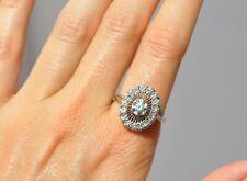 VTG ART DECO NATURAL DIAMOND RING - 14K SOLID WHITE GOLD - DIAMOND HALO RAYS 8.5