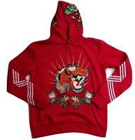 Hudson Outerwear mens 100% AUTHENTIC L/S pullover hoodie red size large tiger