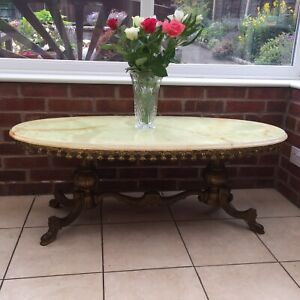 Vintage Oval Onyx Marble stone Coffee Table with brass stand and legs