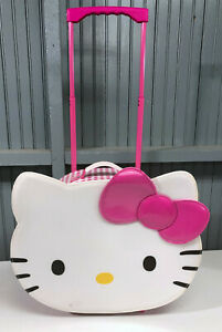 """Hello Kitty Big Face 18"""" Pink White Vinyl Rolling Suitcase Luggage Carry-On Bag"""