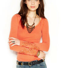 Free People 'Masquerade' Long Sleeve Beaded Cuff Thermal Knit Top Paprika S $68