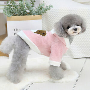 Cute Bear Printed Dog Hoodie Jacket Clothes Warm Fleece Puppy Cat Coat Outfits