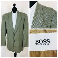 Mens Hugo Boss Jacket Blazer Chest 42 Navy Blue Beige Tweed Style 100% Wool YE99