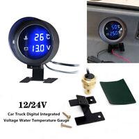 1X Meter Car Digital Integrated Voltage Water Temperature Gauge W/ Base Bracket