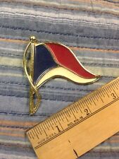 Vtg YACHT CLUB PIN ENAMEL COLOR Red White Blue FLAG BURGEE Costume Jewelry