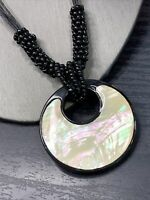 """Necklace Bohemian Mother Of Pearl  Pendant Necklace 18"""" Black Cotton Chain"""