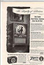 New listing Original 1949 Zenith Television Magazine Ad
