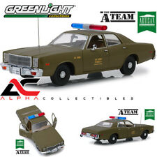 "GREENLIGHT 19053 1:18 1977 PLYMOUTH FURY US ARMY POLICE CAR ""A TEAM"""
