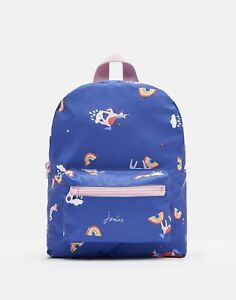 Joules Girls Adventure Small Rubber Backpack - Blue Unicorn Clouds - One Size
