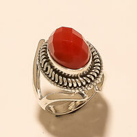 Natural Italian Red Coral Ring 925 Sterling Silver Handmade Birthstone Jewelry