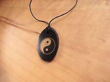 Ciondolo YIN YANG in pietra naturale SHUNGITE Collana con Pendente ovale TAO