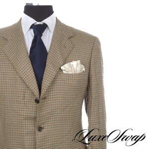 #1 MENSWEAR Brioni 100% Cashmere Nomentano Blonde Green Check Jacket 44 Italy NR