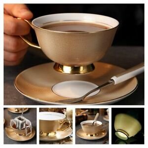 Porcelain Tea Set Coffee Cup Saucer Spoon Luxury Ceramic Mug Party Drinkware Bar