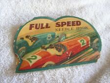 Vintage Full Speed Needle Book Speed Racer Car