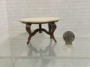 Vintage Artisan J KUNKEL '88 Faux Stone Top Side Table Dollhouse Miniature 1:12