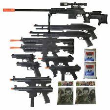 11 Gun P2777 Sniper Rifle Package - 6mm Airsoft Guns + Zombie Targets & BBs