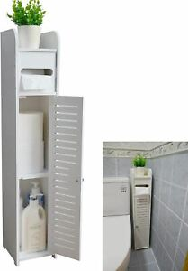 Small Bathroom Storage Corner Floor Cabinet with Doors and Shelves,Thin Toilet V