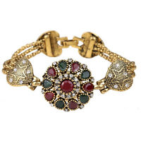 Bohemian Fashion Bracelet Women Alloy Agate Red Resin Bangle Retro Roman Jewelry