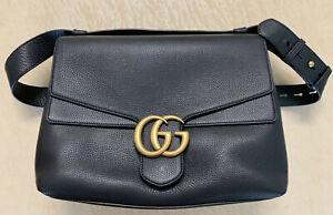 Gucci GG Marmont Black Leather Large Shoulder Bag
