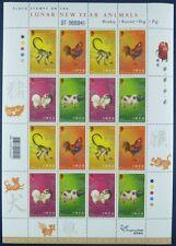 Hongkong Tierkreiszeichen Affen Hahn Hund Schwein Neujahr 1411-14 Kleinbogen NH