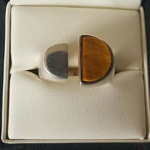 Sterling Silver Tiger Eye Unusual Ring, Size M
