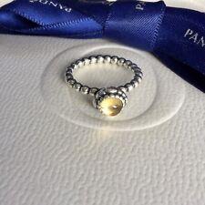Authentic Pandora November Yellow Citrine Birthstone Ring Size 50 #190854CIG
