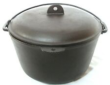 ANTIQUE OLD LODGE CAST IRON CRESCENT MOON KETTLE CAMP FIRE POT DUTCH OVEN W LID