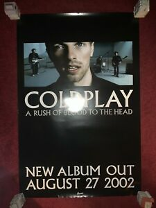 Rare COLDPLAY A Rush Of Blood To The Head 24x36 Promo Poster Chris Martin 2002
