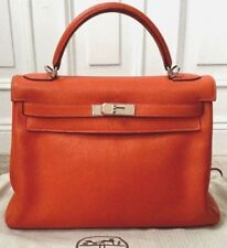 Rare Hermes Kelly 32 Retourne Feu Orange Chevre Leather Palladium HW  Authentic 311340e1fc