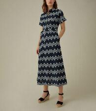 BNWT KAREN MILLEN NAVY FLORAL COTTON LACE SHIRT DRESS SIZE UK 10 RRP £199 DE219