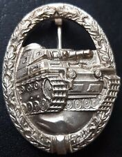 ✚7769✚ German Army Tank Battle Badge in Silver post WW2 1957 pattern ST&L