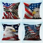 set of 4 cheap pillow covers USA flag patriotic eagle cushion covers